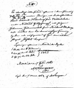 Lysningsbrev 1863
